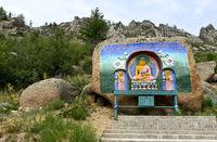 Verehrung von Buddha auf dem Weg zum Aryapala Initiation und Meditations-Zentrum