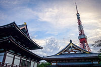 Zojo-ji temple and Tokyo tower, Japan