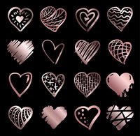 Hand drawn rose gold gradient hearts vector. Design elements for Valentine's day