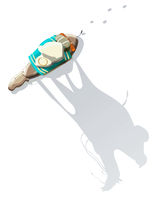 Arab man riding a camel