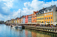 Nyhavn embankment in sunshine, Copenhagen