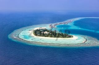 Malediven Insel Urlaub Paradies Meer Textfreiraum Copyspace Halaveli Resort Ari Atoll Luftbild