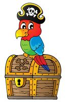 Pirate parrot on treasure chest topic 1
