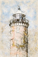 Digital artistic Sketch of a Lighthouse in Cuxhaven in Germany