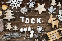 Wooden Christmas Decoration, Tack Means Thank You, Tree And Sled, Snowflakes