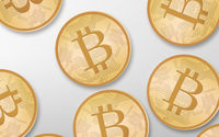 gold bitcoins over white background from top