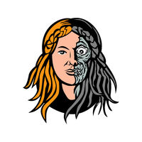 Hel Norse Goddess of Death Head Retro