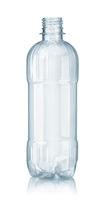 Front view of new empty plastic clear water bottle