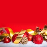 Christmas red balls on snow