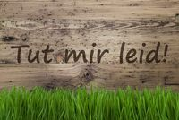 Aged Wooden Background, Gras, Tut Mir Leid Means Sorry