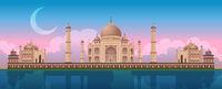 Sunset at Taj Mahal in Agra, India, panoramic city vector
