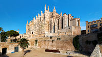 Exterior of Cathedral La Seu with inner yard, Palma de Mallorca, Spain
