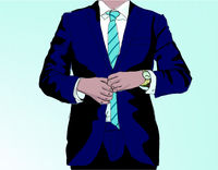 man wearing suit illustration - business concept vector graphic -
