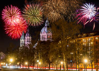 Fireworks at the Sankt Lukas church in Munich at night