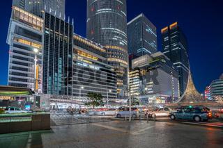 Central of Nagoya city at night in Nagoya, Japan