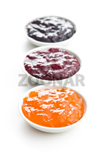 Tasty fruity jam in bowl.