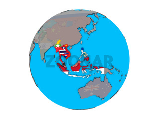 ASEAN memeber states with flags on globe isolated