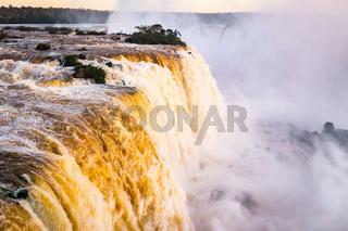 Beautiful Sunset Colors at Cataratas do Iguacu at Iguazu Falls, Foz do Iguacu, Parana State, Brazil