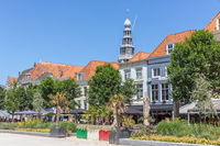 Square in Dutch city Vlissingen with restaurants and terraces