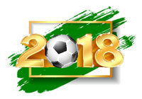 Golden Number 2018 with soccer ball