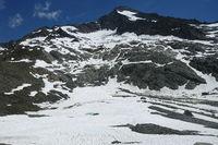 Blick auf den Gletscher der Rötspitze, aufgenommen von der Lenkjöchlhütte, Südtirol