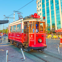 Retro tram at Taksim stop