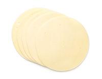 Mozzarella Cheese Slices Isolated On White Background