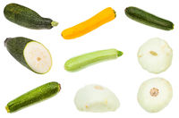 various squashes and zucchini isolated on white