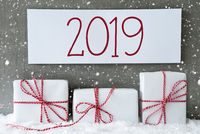 White Gift With Snowflakes, Label With Text 2019