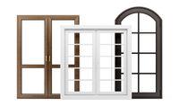 three windows isolated on white background