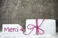 White Gift, Snow, Label, Merci Means Thank You