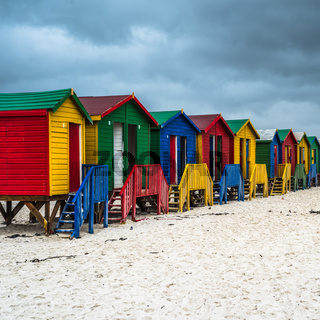 Colourful Beach Houses in Muizenberg, South Africa