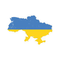 Ukraine country silhouette with flag on background, isolated on white