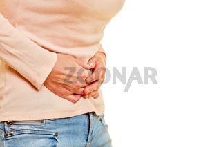 Ältere Frau mit Bauchschmerzen