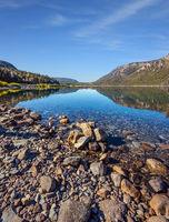 Shallow lake with a stony bottom