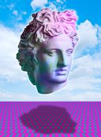 Surreal modern conceptual art poster with ancient statue face of Apollo and sky. Collage of contemporary art.