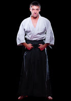 Man martial arts fighter isolated