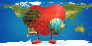 heart figure mascot holding palm with beach chairs and planet earth 3d-illustration elements of this image furnished by NASA