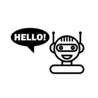 Black Line Chat Bot. Cute Smiling Chatbot Icon. Robot Virtual Assistance. Online Consultation.