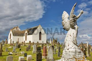 Graveyard at Canisbay church, the most northerly parish church on the Scottish mainland, near John O'Groats.