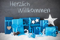 Christmas Gifts, Snow, Herzlich Willkommen Means Welcome