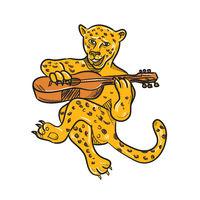 Happy Jaguar Playing Acoustic Guitar Cartoon