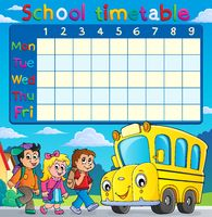 School timetable with children and bus