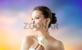 beautiful asian woman with flower