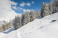 Winter hiking trail in South Tyrol