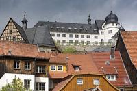 Das Städtchen Stolberg mit Schloss im Harz, Deutschland