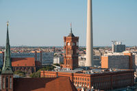 Red City Hall (rotes Rathaus) and tv tower, Berlin Alexanderplatz -