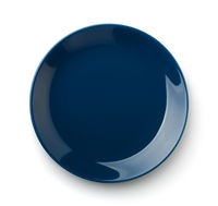 Top view of blue empty ceramic dish