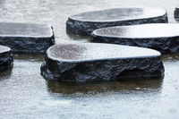 wet stones in the rain in pond