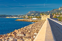 Colorful Cote d Azur town of Menton breakwater and waterfront view